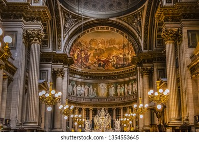 PARIS, FRANCE - APRIL 08, 2017: Interior of Eglise de la Madeleine. Madeleine Church was designed in its present form as a temple to the glory of Napoleon's army.