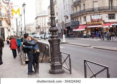 PARIS, FRANCE - APRIL 09, 2013: Paris streets. City of Love IN France. Street of Paris. Spring in Paris.Paris architecture: Old narrow street of Paris, Europe