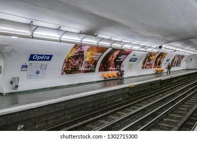 PARIS, FRANCE - APRIL 09, 2017: Paris metro underground Opera station tube. Paris Metro is one of biggest metro systems in the world.