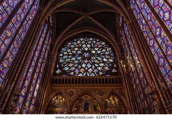 Paris, France, April 1, 2017: The Sainte Chapelle Holy Chapel in Paris, France.