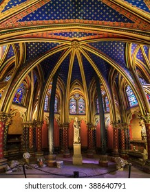 PARIS, FRANCE - APRIL 10, 2014: Beautiful lower chapel of the Sainte-Chapelle (Holy Chapel), a royal medieval Gothic chapel in Paris, France, on April 10, 2014