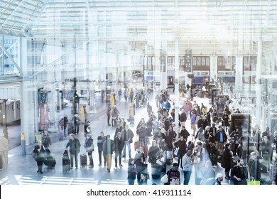 PARIS, FRANCE - APRIL 10 2016: Commuters in modern train station, people waiting in new terminal of Gare de Lyon