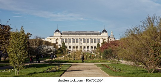 Paris, France - April 11, 2018: Jardin des Plantes - Main botanical garden in France. The exterior of the Great Evolution Galery, part of the National museum of the natural history.