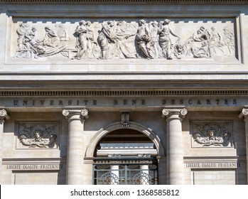 Paris, France - April 11, 2019: Rene Descartes medical university frontage in Quartier Latin.