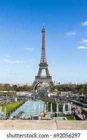 Paris, France - April 12, 2015 : famous Eiffel Tower in Paris