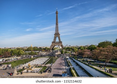 PARIS, FRANCE - APRIL 12, 2017: Trocadero gardens at hill of Chaillot. Trocadero is area of Paris on banks of Seine river not far from famous Eiffel Tower.