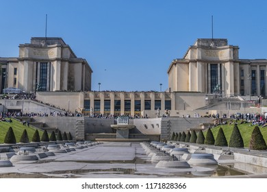 PARIS, FRANCE - APRIL 12, 2017: View Trocadero from banks of Seine (not far from famous Eiffel Tower). On a hilltop Trocadero in 1937 built a new palace - Palais de Chaillot.