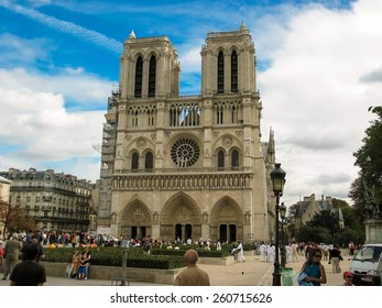 PARIS, FRANCE - APRIL 13, 2012: Notre Dame de Paris in Paris, France. Its a Gothic, Roman Catholic cathedral on the eastern half of the Ale de la City in Paris.