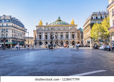 PARIS, FRANCE - APRIL 13, 2017: View Place de l'Opera and Opera de Paris building. Grand Opera (Garnier Palace) is famous neo-baroque building in Paris.