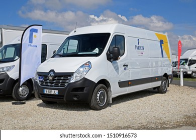 Paris, France - April 13, 2018: Renault master Z.E. electric car during presentation on the parking.