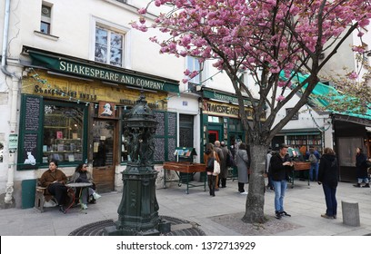 PARIS, FRANCE -April 13, 2019- View of the landmark Shakespeare and Company bookstore and cafe located on the Left Bank in Paris, France, across from Notre Dame.