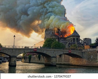 Paris, France - April 15, 2019: The cathedral Notre-Dame destroyed by the flames in Paris