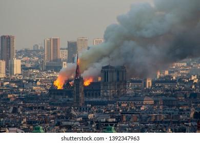 PARIS, FRANCE - APRIL 15, 2019. Notre Dame Cathedral on fire