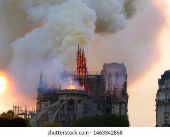 Paris, France - APRIL 15, 2019 Notre Dame de Paris is burning