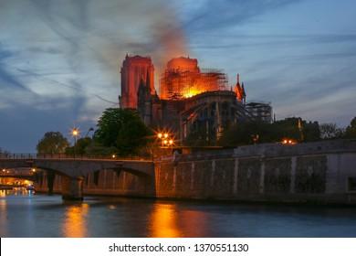 Paris, France - April 15th 2019: Notre Dame Cathedral Fire