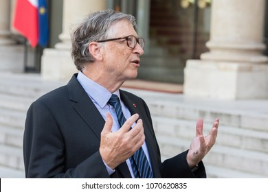 PARIS, FRANCE - APRIL 16, 2018 : Bill Gates at the Elysee Palace to encounter the french president to speak about Bill & Melinda Gates Foundation (BMGF).