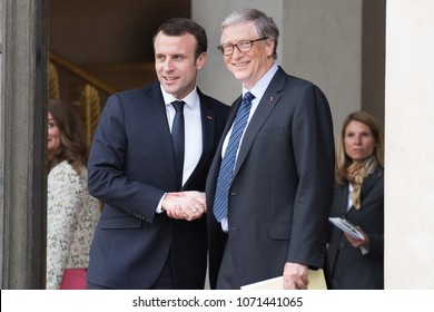 PARIS, FRANCE - APRIL 16, 2018 : The french President Emmanuel Macron welcoming Bill Gates at the Elysee Palace to speak about Bill & Melinda Gates Foundation (BMGF).