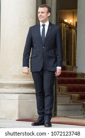 PARIS, FRANCE - APRIL 16, 2018 : The french President Emmanuel Macron after the visit of the Prime Minister  of Canada  at the Elysee Palace.