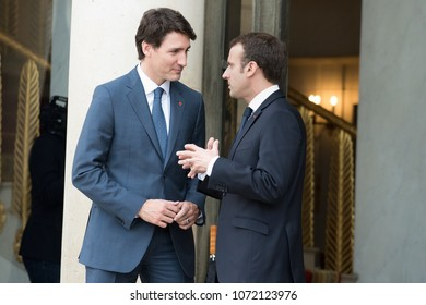 PARIS, FRANCE - APRIL 16, 2018 : The french President Emmanuel Macron with the Prime Minister  of Canada Justin Trudeau at the Elysee Palace for an interview and a lunch.
