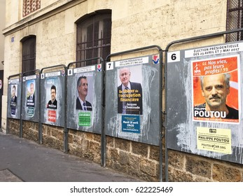 Paris, France : April 16'2017 -Row of the official boards of candidates for French presidential election 2017 in front of a polling station