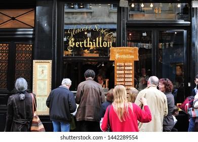 Paris, France -  April 17, 2010: People at Ice cream shop in Paris in the Ile St Louis area.