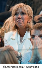 PARIS, FRANCE - APRIL 17, 2017 : Brigitte Macron during, the great gathering of her Husband Emmanuel Macron, at Paris Bercy.