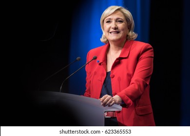 PARIS, FRANCE - APRIL 17, 2017 : Maine Le Pen, from the Front National, a national-conservative political party in France in meeting for the presidential election of 2017 at the Zenith of Paris.