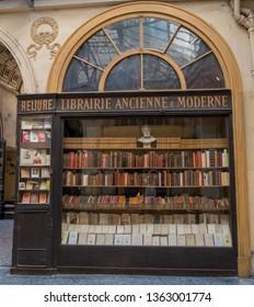 PARIS, FRANCE - APRIL 18, 2018 Old Anscient Bookstore of Galerie Vivienne Luxurious Vivienne Covered Passage