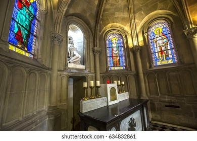 PARIS, FRANCE, APRIL 19, 2017 : interiors, stained glasses and details of notre dame de la compassion church, april 19, 2017, in  Paris, France