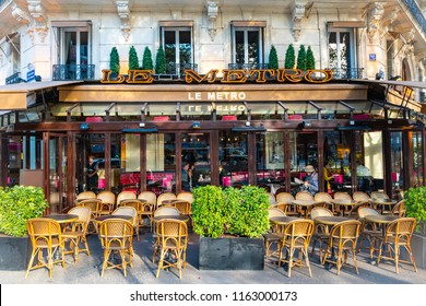 Paris / France - April 2, 2017: Left-Bank Paris Cafe