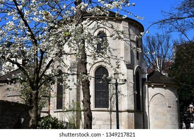 Paris; France - april 2 2017 : the saint Julien le Pauvre church in the Rene Viviani square