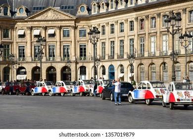 Paris; France - april 2 2017 : 2CV Citroen on the Place Vendome