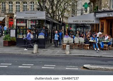 Paris; France - april 2 2017 : the Bourg Tibourg street