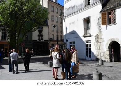 Paris; France - april 2 2017 : the Saint Julien le Pauvre street