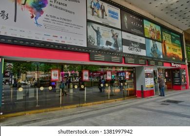 Paris; France - april 2 2017 : cinema on the Avenue des Champs Elysees in the 8 th arrondissement