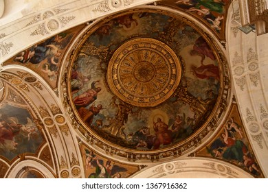Paris; France - april 2 2018 : the Saint Roch church in the rue Saint Honore
