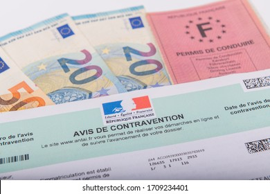 Paris, France - April 20, 2020 : Contravention notice France. Ticket sent to a motorist following a traffic violation, in France