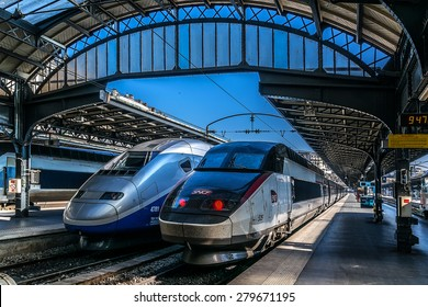 PARIS, FRANCE â?? APRIL 21, 2015: Interior of Gare de Paris-Est (Gare de l'Est, Eastern railway station) train station. It is one of largest and oldest railway stations in Paris, was opened in 1849.