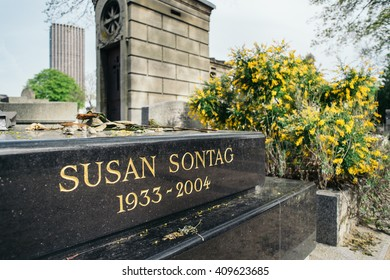 PARIS, FRANCE - APRIL 22, 2016: Susan Sontag's grave in the cemetery of Montparnasse. Susan Sontag was an American writer, filmmaker, teacher and political activist.