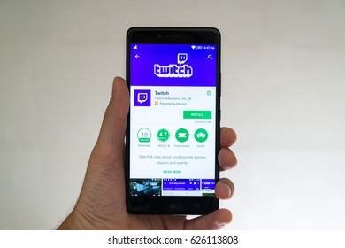 Paris, France, april 22, 2017: Twitch application on google play store on smartphone