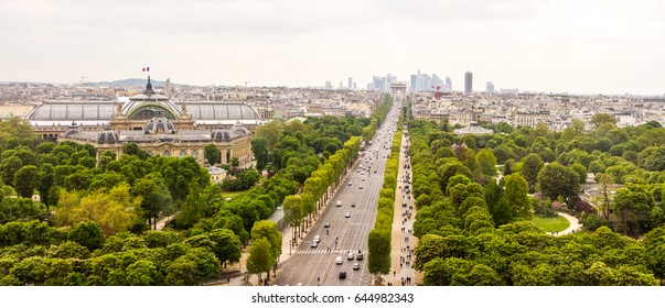 PARIS, FRANCE - April 22, 2017:  Panorama of Paris Champs Elysees with the Arc de Triomphe