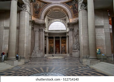 PARIS, FRANCE - APRIL 23, 2016 : Inside, interior of French Mausoleum for Great People of France - the Pantheon in Paris.