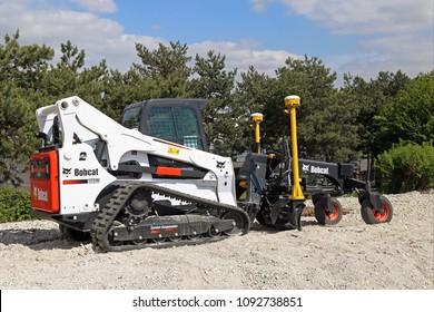 Paris, France - April 23, 2018: skid steer loader Bobcat T870 at demo site at Intermat 2018, Paris