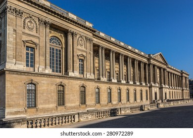 PARIS, FRANCE - APRIL 24, 2015: View of Perrault's Colonnade (1667 - 1670) in Louvre Museum. Louvre Museum is one of the largest and most visited museums worldwide.