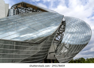 PARIS, FRANCE - APRIL 25, 2015: Building of Louis Vuitton Foundation (American architect Frank Gehry, 2014), is an art museum and cultural center.