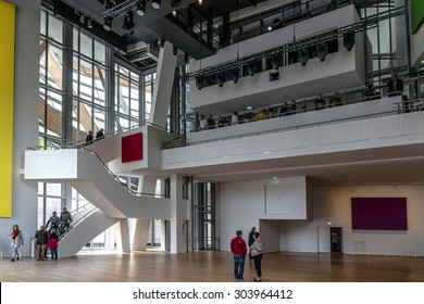 PARIS, FRANCE - APRIL 25, 2015: Interior of Louis Vuitton Foundation (American architect Frank Gehry, 2014) - an art museum and cultural center.