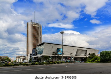 PARIS, FRANCE - APRIL 25, 2015: View of Hyatt Regency Paris Etoile - skyscraper hotel located near Porte Maillot. Hotel with 950 rooms is part of the Palais des Congres.