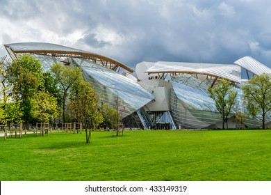 PARIS, FRANCE - APRIL 25, 2015: Modern architecture of Louis Vuitton Foundation (American architect Frank Gehry, 2014). Louis Vuitton Foundation is an art museum and cultural center