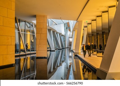 PARIS, FRANCE - APRIL 25, 2015: Modern architecture of Louis Vuitton Foundation (American architect Frank Gehry, 2014). Louis Vuitton Foundation is an art museum and cultural center.