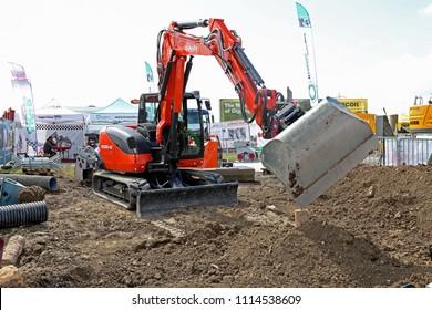 Paris, France - April 25, 2018: Excavator Kubota KXO 80-4a at Intermat 2018, Paris